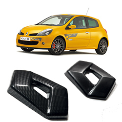Clio 197 Black/Carbon effect badge covers